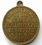 Photo numismatique  Monnaies Monnaies/medailles d'Alsace Schiltigheim Médaillette avec belière SCHILTIGHEIM, Médaillette avec belière, Elsassische musikfest, petites tâches sinon SUPERBE