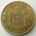 Photo numismatique  Monnaies Monnaies Française en or Second Empire 20 Francs or NAPOLEON III, 20 francs 1869 BB Strasbourg, tête laurée, variété grand BB, G.1062 TTB