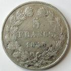 Photo numismatique  Monnaies Monnaies Françaises Louis Philippe 5 Francs LOUIS PHILIPPE Ier, 5 francs 1847 A Paris, G.678a  Bon TTB
