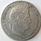 Photo numismatique  Monnaies Monnaies Fran�aises Louis Philippe 5 Francs LOUIS PHILIPPE Ier, 5 francs 1838 A Paris, G.678 TTB