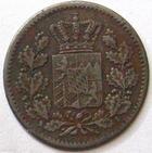 Photo numismatique  Monnaies Monnaies étrangères Allemagne Bayern (Bavière) 1 pfenning Allemagne, Bavière, Bayern, 1 pfenning 1863, KM.471 TTB