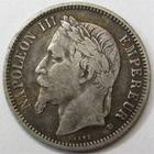 Photo numismatique  Monnaies Monnaies Françaises Second Empire 1 Franc NAPOLEON III, 1 franc tête laurée 1870 BB Strasbourg, G.463 rayures sur le portrait, TB+
