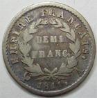 Photo numismatique  Monnaies Monnaies Françaises 1er Empire Demi franc NAPOLEON Ier, demi franc 1811 A Paris, G.599, rayures à l'avers, TB+