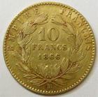 Photo numismatique  Monnaies Monnaies Française en or Second Empire 10 Francs or NAPOLEON III, 10 francs or lauré 1866 BB Strasbourg, grand BB, G.1015 TB+