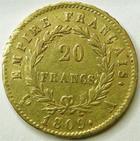 Photo numismatique  Monnaies Monnaies Française en or 1er Empire 20 Francs or NAPOLEON Ier, 20 francs or 1809 A, G.1025 TTB