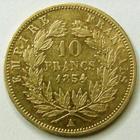 Photo numismatique  Monnaies Monnaies volées NAPOLEON III 10 francs or petit module NAPOLEON III, 10 francs or petit module, 1854 A, tranche lisse, G.1013 TTB/TTB+ Rare!!