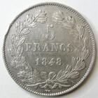Photo numismatique  Monnaies Monnaies Françaises Louis Philippe 5 Francs LOUIS PHILIPPE Ier, 5 francs 1848 A Paris, G.678a petit coup sur tranche sinon TTB+