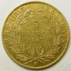 Photo numismatique  Monnaies Monnaies Française en or Second Empire 5 Francs or NAPOLEON III, 5 francs or lauré, 1867 BB Strasbourg, G.1002 légèrement voilée sinon TTB