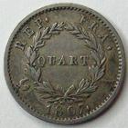 Photo numismatique  Monnaies Monnaies Françaises 1er Empire Quart de franc NAPOLEON Ier, quart de franc