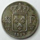 Photo numismatique  Monnaies Monnaies Françaises Charles X 1/4 de Franc CHARLES X, 1/4 de franc 1829 W Lille, G.353 TTB