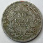Photo numismatique  Monnaies Monnaies Françaises Second Empire 50 Centimes NAPOLEON III, 50 centimes non lauré, 1858 A Paris, G.414 une couronne est légèrement regravée sur le portrait! TB/TB+