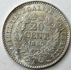 Photo numismatique  Monnaies Monnaies Fran�aises Deuxi�me R�publique 20 Cmes 20 centimes type C�r�s, 1850 A Paris, G.303 SUPERBE+