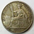 Photo numismatique  Monnaies Anciennes colonies Françaises Cochinchine 50 Centimes COCHINCHINE, 50 centimes en argent, 1879 A Paris, LEC.25 R! TTB+