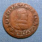 Photo numismatique  Monnaies Monnaies F�odales Dombes Double Tournois GASTON D'ORLEANS double tournois type 11, 1639, Boudeau 1087 variante, TTB Rare!!