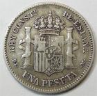 Photo numismatique  Monnaies Monnaies étrangères Espagne, Spain 1 Pesetas Espagne, Spain, Alphonso XII, 1 pesetas 1876 DE.M, KM.672 TTB