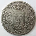 Photo numismatique  Monnaies Monnaies Françaises 1ère Restauration 5 Francs LOUIS XVIII, pièce de 5 francs 1814 I Limoge, G.591 TB à TTB