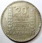 Photo numismatique  Monnaies Monnaies Fran�aises Troisi�me R�publique 20 Francs 20 francs type Turin, 1938, G.852 TTB+