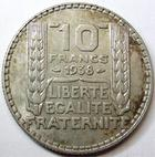 Photo numismatique  Monnaies Monnaies Fran�aises Troisi�me R�publique 10 Francs 10 Francs type Turin 1938, G.801 TTB