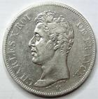 Photo numismatique  Monnaies Monnaies Fran�aises Charles X 5 Francs CHARLES X, 5 francs 1826 T Nantes, G.643 TTB Rare!R!