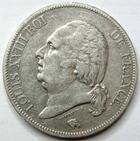 Photo numismatique  Monnaies Monnaies Fran�aises Louis XVIII 5 Francs LOUIS XVIII, 5 francs 1821 A Paris, G.614 TTB