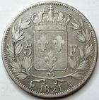 Photo numismatique  Monnaies Monnaies Françaises Louis XVIII 5 Francs LOUIS XVIII, 5 francs 1821 A Paris, G.614 TTB