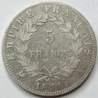 Photo numismatique  Monnaies Monnaies Françaises 1er Empire 5 Francs NAPOLEON Ier, 5 francs 1811 A Paris, G.584 TB+
