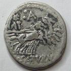 Photo numismatique  Monnaies République Romaine Appuleia 104 avant Jc Denier, denar, denario, denarius LUCIUS APPULEIUS SATURNINUS, Denier Rome en 104 avant Jc, tête de Rome, quadrige à droite, 3.88 Grms, RSC.Appuleia 1 TTB