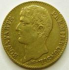 Photo numismatique  Monnaies Monnaies Française en or Consulat 40 Francs or Bonaparte premier consul, 40 francs or AN 12 A Paris, G.1080 TTB