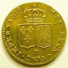 Photo numismatique  Monnaies Monnaies en dépôt vente Louis XVI Double louis d'or aux Ecus accolés LOUIS XVI, Double louis d'or au buste nu, 1786 D Lyon, Légères stries d'ajustage sinon SUPERBE+ avec brillant d'origine