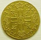 Photo numismatique  Monnaies Monnaies royales en or Louis XIV Médaille Demi louis d'or à la mèche longue LOUIS XIV, Demi louis d'or à la mèche longue, 1648 A Paris, petit coup sur le portrait sinon TTB+ R!R