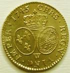 Photo numismatique  Monnaies Monnaies royales en or Louis XV Louis d'or au bandeau LOUIS XV, Louis d'or au bandeau, 1745 W Lille, TTB à SUPERBE