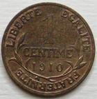 Photo numismatique  Monnaies Monnaies en dépôt vente Troisième République 1 Centime 1 centime Dupuis 1910, G.90 Presque SUPERBE