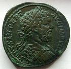 Photo numismatique  Monnaies Empire Romain SEPTIME SEVERE, SEPTIMUS SEVERUS, SEPTIMO SEVERO Sesterce, sesterz, sestertius, sestertio SEPTIMIUS SEVERUS, SEPTIME SEVERE, sesterce frappé à Rome en 196, Adventus, 24.77 grammes, RIC.719, Bel exemplaire de flan large avec une belle patine