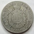 Photo numismatique  Monnaies Monnaies Françaises Second Empire 2 Francs NAPOLEON III, 2 francs 1866 A Paris, G.463 TB+
