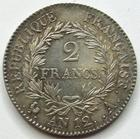 Photo numismatique  Monnaies Monnaies en dépôt vente Consulat 2 Francs BONAPARTE premier Consul, 2 francs AN 12 A, SUPERBEà FDC  bel exemplaire!!