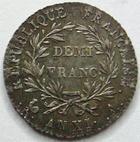 Photo numismatique  Monnaies Monnaies en dépôt vente Consulat Demi franc BONAPARTE premier Consul, Demi franc AN XI A, SUPERBE à FDC Bel exemplaire!