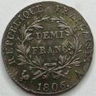 Photo numismatique  Monnaies Monnaies en dépôt vente 1er Empire Demi franc NAPOLEON Ier, demi franc 1806 A, SUPERBE à FDC Bel exemplaire!