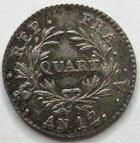 Photo numismatique  Monnaies Monnaies en dépôt vente Consulat Quart de franc BONAPARTE premier Consul, quart de franc AN 12 A, SUPERBE+