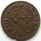 Photo numismatique  Monnaies Monnaies Royales Louis XIV Médaille Denier Tournois LOUIS XIV, Denier tournois 1648 A, DY.1586 TTB