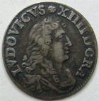 Photo numismatique  Monnaies Monnaies Royales Louis XIV Médaille 4 Sols des traîtants LOUIS XIV, 4 sols des traîtants, 1675 D Vimy, G.103 rayures au revers sinon TTB+
