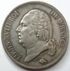Photo numismatique  Monnaies Monnaies Fran�aises Louis XVIII 5 Francs LOUIS XVIII, 5 francs 1821 A Paris, G.614 TTB � SUPERBE