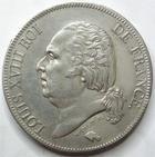 Photo numismatique  Monnaies Monnaies Fran�aises Louis XVIII 5 Francs LOUIS XVIII, 5 francs 1824 W Lille, G.614 Presque SUPERBE