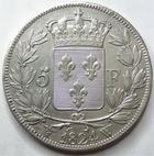 Photo numismatique  Monnaies Monnaies Françaises Louis XVIII 5 Francs LOUIS XVIII, 5 francs 1824 W Lille, G.614 Presque SUPERBE