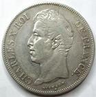 Photo numismatique  Monnaies Monnaies Françaises Charles X 5 Francs CHARLES X, 5 francs 1827 L Bayonne, G.644 TB+/TTB