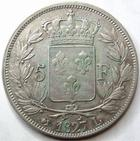 Photo numismatique  Monnaies Monnaies Fran�aises Charles X 5 Francs CHARLES X, 5 francs 1827 L Bayonne, G.644 TB+/TTB