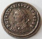 Photo numismatique  Monnaies Empire Romain CRISPUS, CRISPE, CRISPO Follis, folles,  CRISPUS, Follis, Cysique en 317.320, Buste consulaire, 2.33 grms, RIC.10 traces de néttoyage sinon TTB+ Rare!