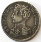 Photo numismatique  Monnaies Monnaies Fran�aises Henri V 1 Franc HENRI V, 1 franc 1831, 4.94 grms, VG.2705 TTB+