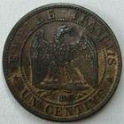 Photo numismatique  Monnaies Monnaies Françaises Second Empire 1 Centime NAPOLEON III, 1 centime non lauré, 1853 BB Strasbourg, G.86 TTB+