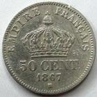 Photo numismatique  Monnaies Monnaies Françaises Second Empire 50 Centimes NAPOLEON III, 50 centimes lauré 1867 BB Strasbourg, G.417 Presque TTB