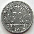 Photo numismatique  Monnaies Monnaies Françaises Etat Français 50 Centimes 50 centimes Bazor 1943 B, G.425 petites tâches sinon SUPERBE R!
